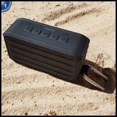 Venstar S203 Wireless Bluetooth 4.0 Lausprecher, 7W Wasserdicht Tragbar Stereo Bass Speaker Box mit Karabinerhaken, 3,5 mm Audiobuchse, TF-Karten- / Micro SD-Kartenslot für Dusche, Outdoor, Sport