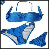 TDOLAH Damen Bandeau Padded Bikini-Set Trägerlosen Badeanzug Push Up