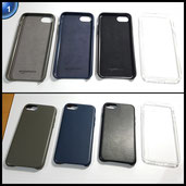 AmazonBasics schmale PU Hülle/Case für iPhone 7 Schwarz / Navi-Blau / Grau