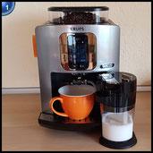 Krups EA860E Kaffeevollautomat One-Touch-Cappuccino Latte Smart, App gesteuert, Milchbehälter, 1,8 L, 15 bar, metall / schwarz