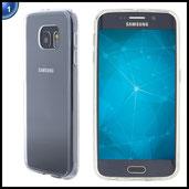 Ultratec Smartphone Hybrid Schutzhülle / Schale mit farbigem TPU-Rand für Samsung S6, inkl. Reißverschluss-Tasche, transparent/kristall