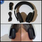 iDeaUSA S204 Bluetooth 4.0 Wireless Stereo Headset, Over-Ear Faltbarer Kopfhörer mit Mikrofon, aptX, Freisprecheinrichtung Headphone für TV, iPhone, Tablet PC, Smartphones, Schwarz + Silbrig