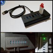 AUKEY USB 3.0 Hub 7 Datenports Schwarz mit 30W Netzteiladapter und USB 3.0 Kabel kompatibel WinXP / Vista / 7 / 8 / 10, Mac OS