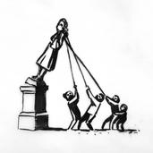 『抗議者に引き倒されようとしているコルストン像』
