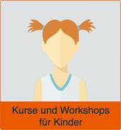 """Comic-Bild von einem Kind mit dem Vermerk """"Kurse und Workshops für Kinder"""". Ds Bild verlinkt auf den Menüpunkt """"Für Kinder"""""""