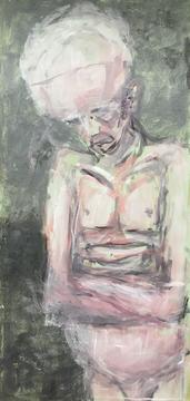 Großer Kopf, Acryl mit Sand, Tempera, 2017