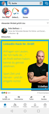 LinkedIn Startseite
