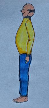 Zeichnung eines Mannes im Aaufrechten Stand
