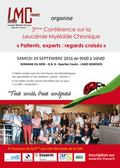 conference lmc france journee mondiale leucemie myeloide chronique world cml day 9/22 22/9 france domaine du gem Gemenos marseille patient expert regards croisés