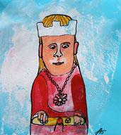 König mit rotem Mantel und Blumenkette