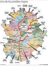 """Mapa comarcal y comarcas """"fantasma""""."""