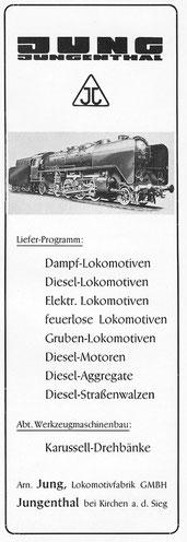 Jung Reklame von 1951 mit Lok der Baureihe 41