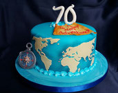 World Map, travellers cake