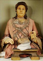 Anna Morandi beim Sezieren eines Gehirns (Selbstbildnis aus Wachs, Palazzo Poggi, Bologna)