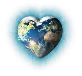corazón con el mapa mundial insertado-vibración