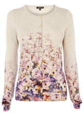 Warehouse floral border cardigan