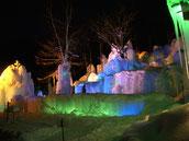 氷のステージライトアップ写真
