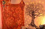 Lebensbaum Wandbehang in Orange und weiß