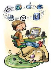 Internet, surfen, kinder, hund