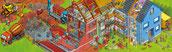 Baustelle Wimmelbild. Ein Haus entsteht, von der Baugrube bis zur Schlüsselübergabe: alles in einem Bild.