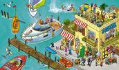 Segelboot, Jolle, Motorboot, Surfer, Yachtclub, Steg, Schatztaucher, Bar, Sonnenbrand, Tatoostudio