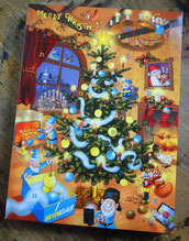 Adventskalender Weihnachtsbaum Wimmelbild Illustration