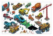 Kran, Bagger, Strassenbau, Lader, Baumaschinen