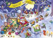 Weihnachtsmann, Dachs, Fuchs, Tierkinder, Elfen, Gans, Rentier, Mäuse, Waschbär, Igel, Reh, Wichtel, Geschenke