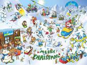 Wimmelbild Adventskalender Ski-Piste