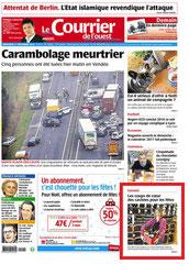 Cave Beaurepaire Angers, Courrier de l'Ouest du mercredi 21 décembre 2016