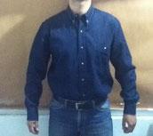 camisa azul oscuro mezclilla