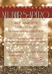 Druckatelier 46 Mülchi, Bern, Schweiz - Gestaltung Flyer Neujahrsapéro Gemeinde Fraubrunnen