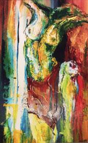"""Rotes Tuch"" Acryl auf Holz 35x 50"