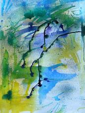 Die Pinselstriche tanzen über das Papier. Die Farben fließen.  Blau und gelb vermischt sich zu grün. Sehr beschwingtes Bild. Abstrakt. Aquarellig.