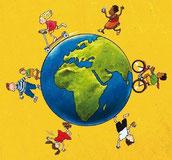 Weltkugel mit spielenden Kindern