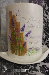 Hochzeitskerze lila und Birke