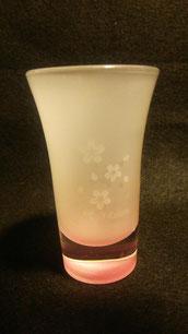 桜柄中擦りグラス ¥900 底から桜色が浮かび上がります 限定5個だけ
