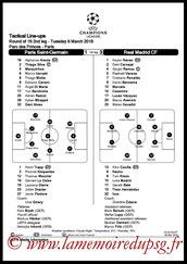 Feuille de match  PSG-Real Madrid  2017-18