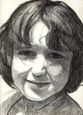 Ritratto di bambina - carboncino su carta