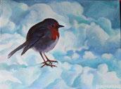 Pettirosso nella neve - olio su tela. 2013