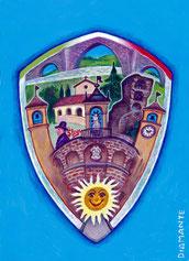 Stemma di Modigliana per gadget turistico, acrilici su cartoncino