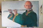 Ragazzo con il flauto - olio su tela