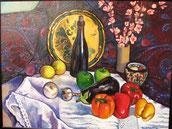 Natura morta contro panno decorato - olio su tela. 2002
