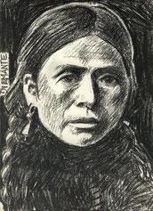 Nativa americana, carboncino su carta. 1994