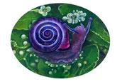 Violet snail, olio su legno telato. 2015