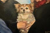 particolare dipinto olio - la cagnolina