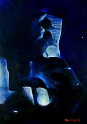 Rocca dei Conti Guidi, notturno. Olio su tela 50 x 70. 2016