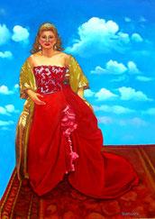 Michela Sburlati vestita per la Tosca, olio su tela 2008