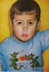 Ritratto di bambino con draghetti - pastelli su carta