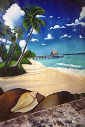 Paesaggio tropicale - olio su tela, particolare